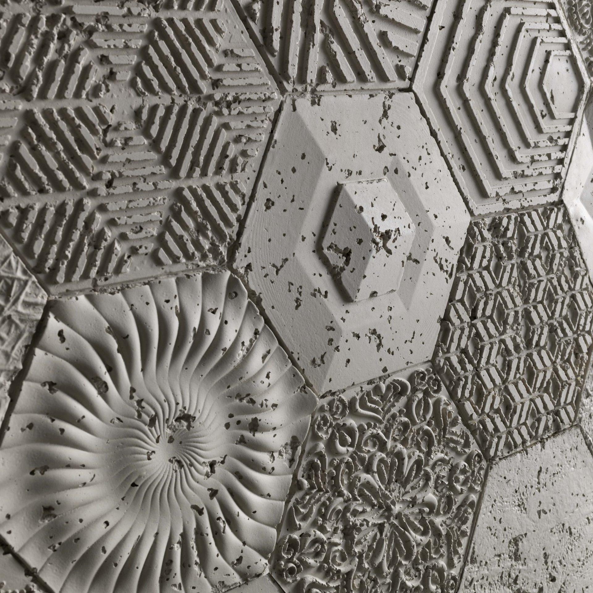 Panel Piedra Cemento Hexagonal